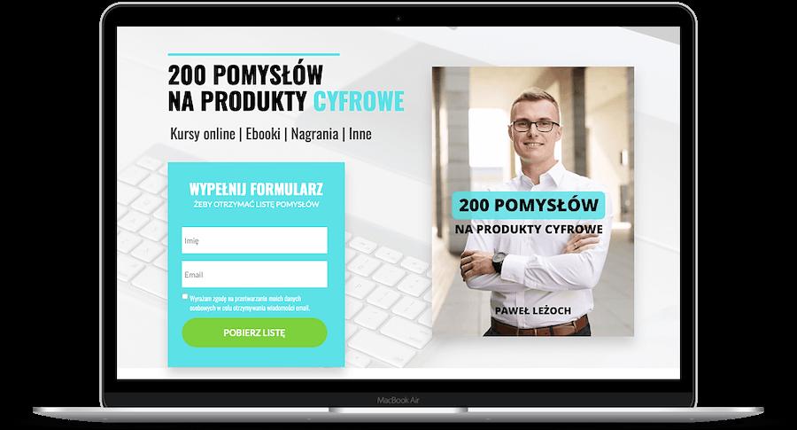 Landing Page, który umożliwia pobranie poradnika pdf