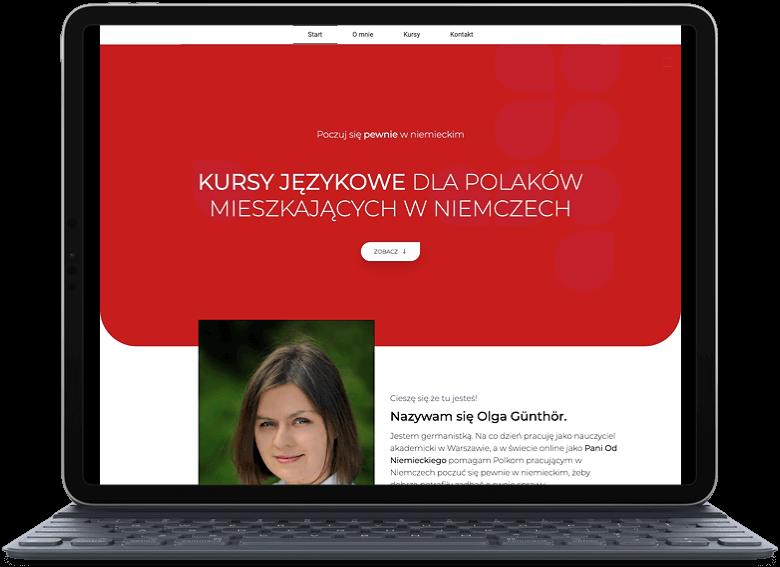 Portfolio - projekt strony internetowej dla Pani Od Niemieckiego